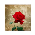 Red Rose Art Small Satin Scarf (Square)