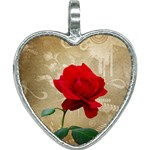 Red Rose Art Heart Necklace