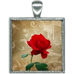 Red Rose Art Square Necklace
