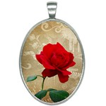 Red Rose Art Oval Necklace