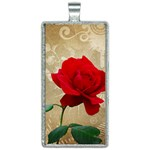 Red Rose Art Rectangle Necklace