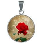 Red Rose Art 25mm Round Necklace