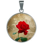 Red Rose Art 30mm Round Necklace