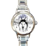 Wolf Moon Mountains Round Italian Charm Watch