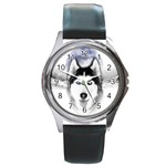 Wolf Moon Mountains Round Metal Watch