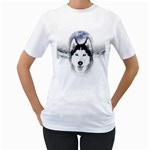 Wolf Moon Mountains Women s T-Shirt (White) (Two Sided)