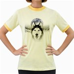 Wolf Moon Mountains Women s Fitted Ringer T-Shirt