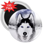 Wolf Moon Mountains 3  Magnet (100 pack)