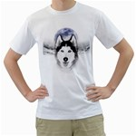 Wolf Moon Mountains Men s T-Shirt (White) (Two Sided)
