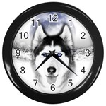 Wolf Moon Mountains Wall Clock (Black)