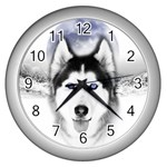 Wolf Moon Mountains Wall Clock (Silver)