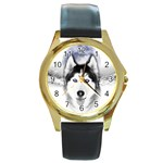 Wolf Moon Mountains Round Gold Metal Watch