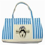 Wolf Moon Mountains Striped Blue Tote Bag