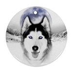 Wolf Moon Mountains Round Ornament (Two Sides)