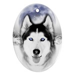 Wolf Moon Mountains Oval Ornament (Two Sides)