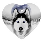 Wolf Moon Mountains Heart Ornament (Two Sides)