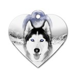 Wolf Moon Mountains Dog Tag Heart (Two Sides)