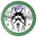 Wolf Moon Mountains Color Wall Clock