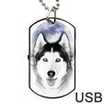 Wolf Moon Mountains Dog Tag USB Flash (One Side)