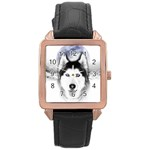 Wolf Moon Mountains Rose Gold Leather Watch