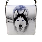 Wolf Moon Mountains Flap Closure Messenger Bag (L)