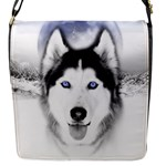 Wolf Moon Mountains Flap Closure Messenger Bag (S)