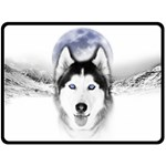 Wolf Moon Mountains Double Sided Fleece Blanket (Large)