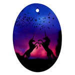 Unicorn Sunset Oval Ornament (Two Sides)