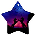 Unicorn Sunset Star Ornament (Two Sides)