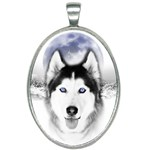 Wolf Moon Mountains Oval Necklace