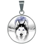 Wolf Moon Mountains 25mm Round Necklace