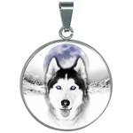 Wolf Moon Mountains 30mm Round Necklace