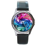 Water Paint Round Metal Watch