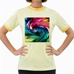 Water Paint Women s Fitted Ringer T-Shirt