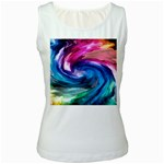 Water Paint Women s White Tank Top