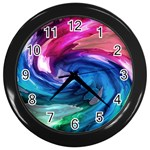 Water Paint Wall Clock (Black)