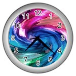 Water Paint Wall Clock (Silver)