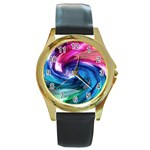 Water Paint Round Gold Metal Watch