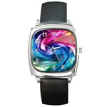 Water Paint Square Metal Watch