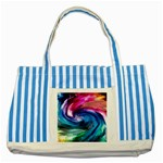 Water Paint Striped Blue Tote Bag