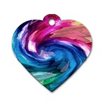 Water Paint Dog Tag Heart (One Side)