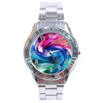 Water Paint Stainless Steel Analogue Watch
