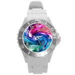 Water Paint Round Plastic Sport Watch (L)
