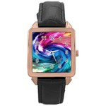 Water Paint Rose Gold Leather Watch