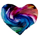 Water Paint Large 19  Premium Flano Heart Shape Cushion