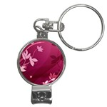 Pink Flower Art Nail Clippers Key Chain