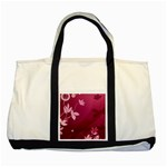 Pink Flower Art Two Tone Tote Bag