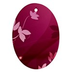 Pink Flower Art Oval Ornament (Two Sides)