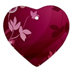Pink Flower Art Heart Ornament (Two Sides)