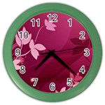 Pink Flower Art Color Wall Clock